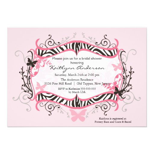 Trendy Floral Zebra Frame Bridal Shower Invitation