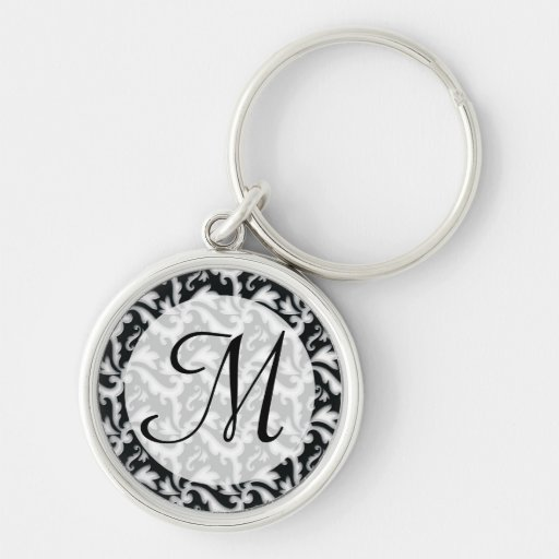 Trendy Flourishes with Monogram | Black and White Silver-Colored Round Keychain