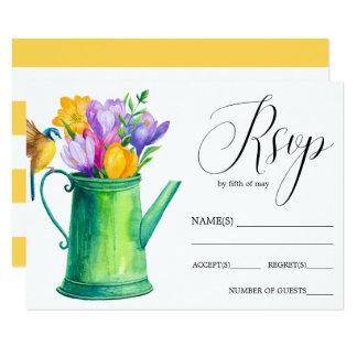 Trendy Flower watering can  tulips  wedding RSVP Card