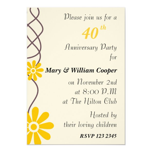 Trendy Flowers 40th Wedding Anniversary Party Card