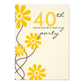 "Trendy Flowers 40th Wedding Anniversary Party 5"" X 7"" Invitation Card"