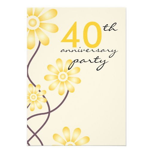Trendy Flowers 40th Wedding Anniversary Party Custom Invitations