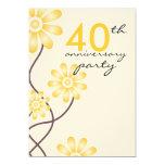 "Trendy Flowers 40th Wedding Anniversary Party 5"" X 7"" Invitation Card"