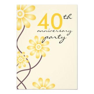 Trendy Flowers 40th Wedding Anniversary Party Custom Invitations