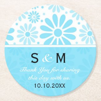 Trendy Flowers Wedding Thank You Monogram:Blue Round Paper Coaster