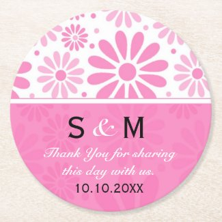 Trendy Flowers Wedding Thank You Monogram:Pink Round Paper Coaster