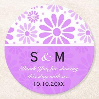 Trendy Flowers Wedding Thank You Monogram:Purple Round Paper Coaster