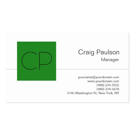 Trendy Forest Green White Monogram Business Card