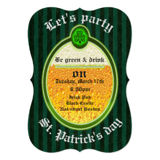 "Trendy fun beer ""St.Patrick's day"" party 5x7 Paper Invitation Card"