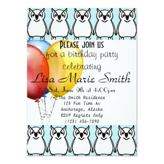 Trendy Fun Birthday Owl & Colorful Balloons 6.5x8.75 Paper Invitation Card