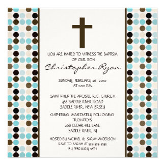 Trendy Fun DOTS Baby Boy Baptism Inviation Personalized Announcement