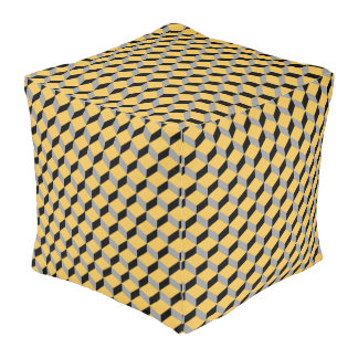Trendy Funky Optical Illusion Modern Patterned Cube Pouf