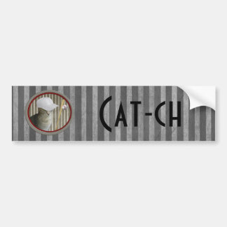 Trendy funny baseball cat cat-ch bumper sticker