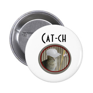 Trendy funny baseball cat cat-ch buttons