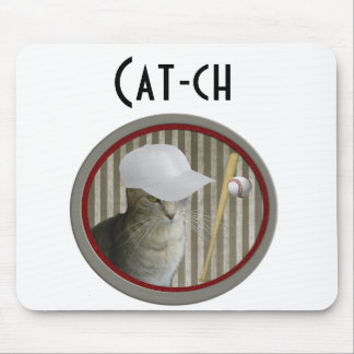 Trendy funny baseball cat cat-ch mouse pad