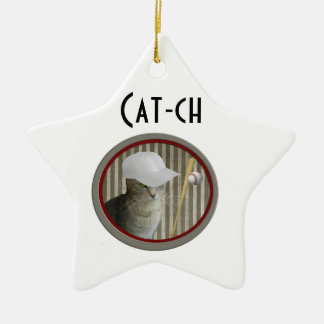 Trendy funny baseball cat cat-ch christmas ornament