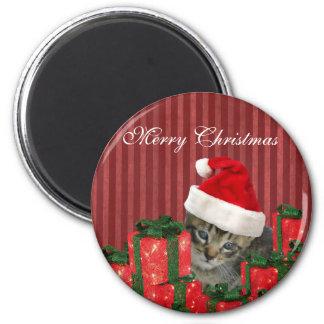 Trendy funny Christmas cute Santa kitten 2 Inch Round Magnet