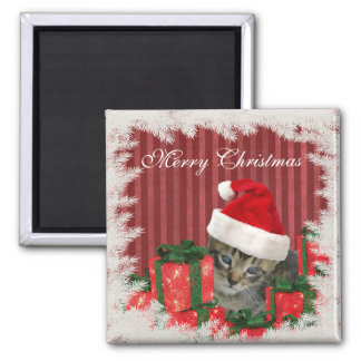 Trendy funny Christmas cute Santa kitten 2 Inch Square Magnet