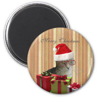 Trendy funny Christmas Santa cat 2 Inch Round Magnet