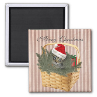 Trendy funny Christmas Santa cat in the basket 2 Inch Square Magnet