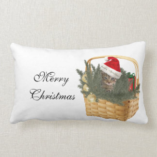 Trendy funny Christmas Santa kitten in the basket Lumbar Pillow