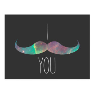Trendy galactic mustache post card