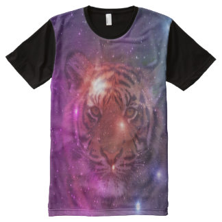 Trendy galaxy print and tiger All-Over-Print T-Shirt
