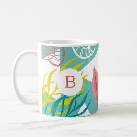 Trendy Geo Nautical Seashells Seaweed |  Monogram Coffee Mug