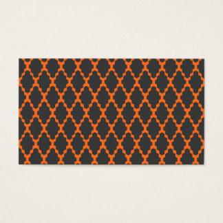 Trendy Geometric Checkered Black Orange Pattern Business Card