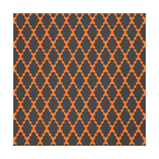 Trendy Geometric Checkered Black Orange Pattern Stretched Canvas Print