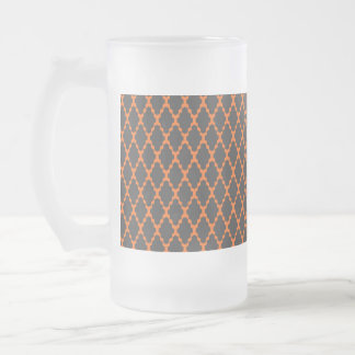 Trendy Geometric Checkered Black Orange Pattern Frosted Glass Beer Mug