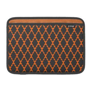 Trendy Geometric Checkered Black Orange Pattern MacBook Air Sleeves