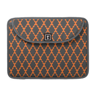 Trendy Geometric Checkered Black Orange Pattern Sleeve For MacBooks