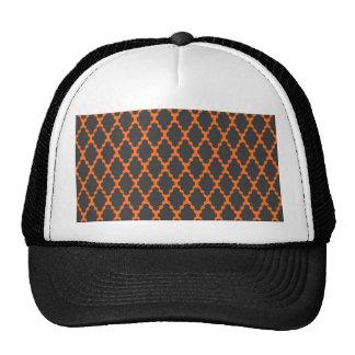 Trendy Geometric Checkered Black Orange Pattern Trucker Hat
