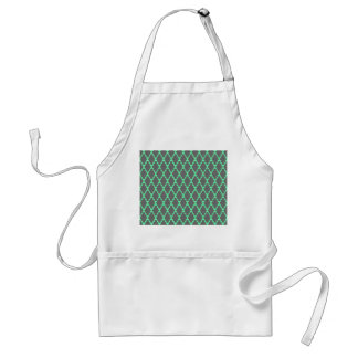 Trendy Geometric Checkered Black Teal Pattern Art Apron