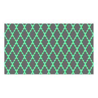Trendy Geometric Checkered Black Teal Pattern Art Business Card Templates
