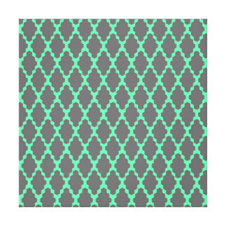 Trendy Geometric Checkered Black Teal Pattern Art Gallery Wrapped Canvas