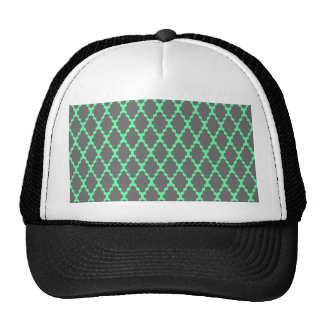 Trendy Geometric Checkered Black Teal Pattern Art Trucker Hat