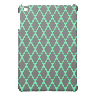 Trendy Geometric Checkered Black Teal Pattern Art Cover For The iPad Mini