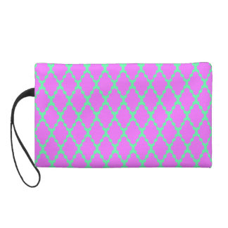 Trendy Geometric Checkered Pink Teal Pattern Art Wristlet Clutch