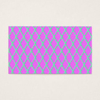 Trendy Geometric Checkered Pink Teal Pattern Art Business Card