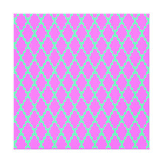 Trendy Geometric Checkered Pink Teal Pattern Art Gallery Wrapped Canvas