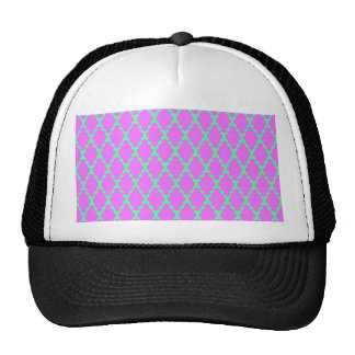 Trendy Geometric Checkered Pink Teal Pattern Art Trucker Hat