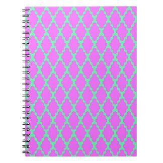 Trendy Geometric Checkered Pink Teal Pattern Art Spiral Notebook