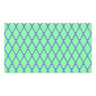 Trendy Geometric Checkered Teal Purple Pattern Art Business Card