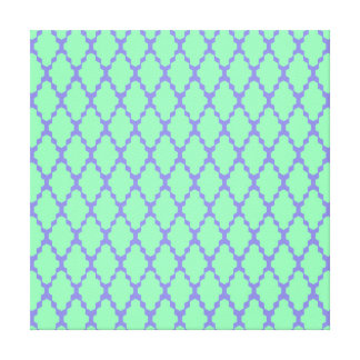 Trendy Geometric Checkered Teal Purple Pattern Art Gallery Wrapped Canvas