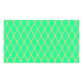 Trendy Geometric Checkered Teal Yellow Pattern Art Business Card