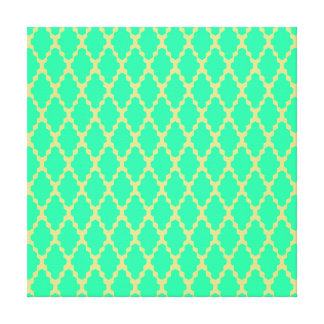 Trendy Geometric Checkered Teal Yellow Pattern Art Gallery Wrap Canvas