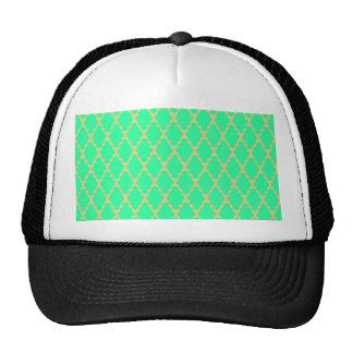 Trendy Geometric Checkered Teal Yellow Pattern Art Trucker Hat