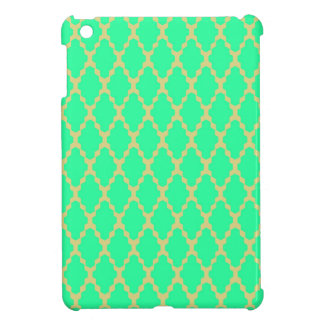 Trendy Geometric Checkered Teal Yellow Pattern Art iPad Mini Cases